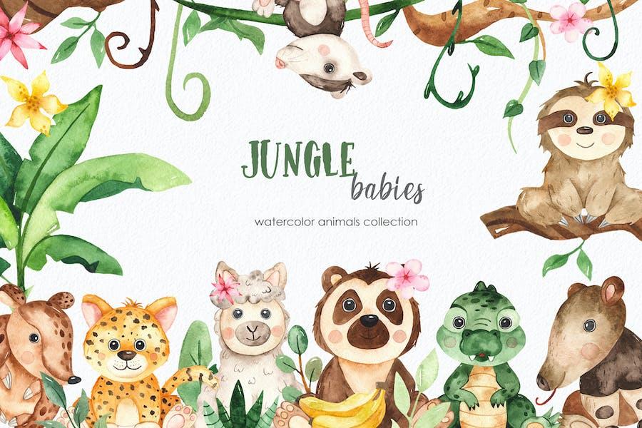 Watercolor jungle babies animals Clipart