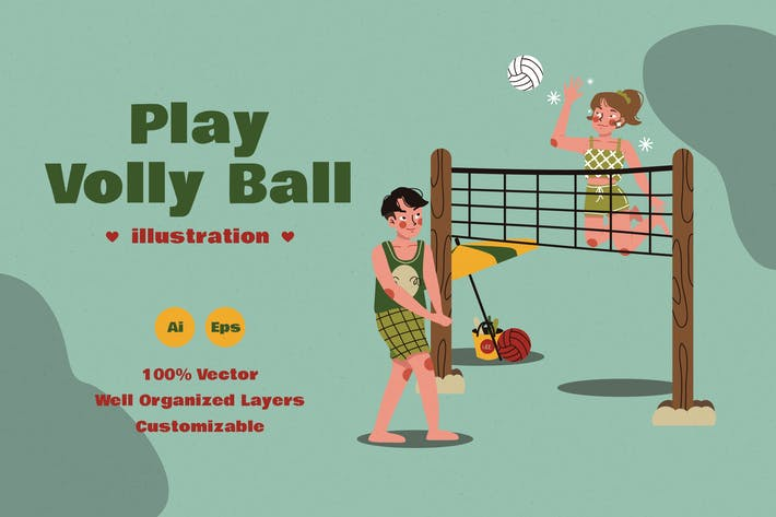 Kids Play Volley Ball Illustration