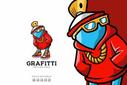 Spray Mascotte Logo de personnage de dessin animé