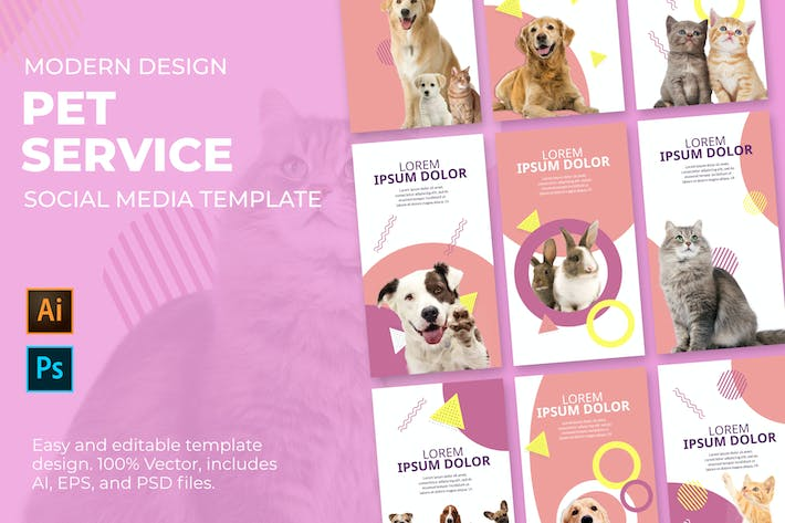 Thumbnail for Pet Service Social Media Template