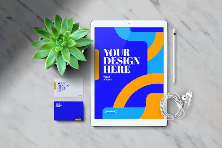 Thumbnail for Tablet & Business Card Mockup