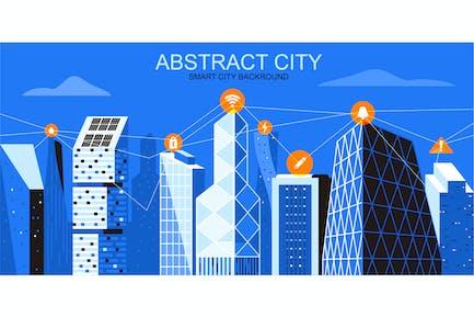 Smart City Vektor Illustration Header Website