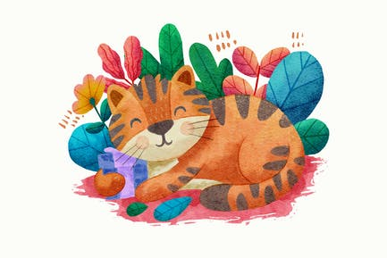 niedliche Kätzchen-Illustration mit Aquarell