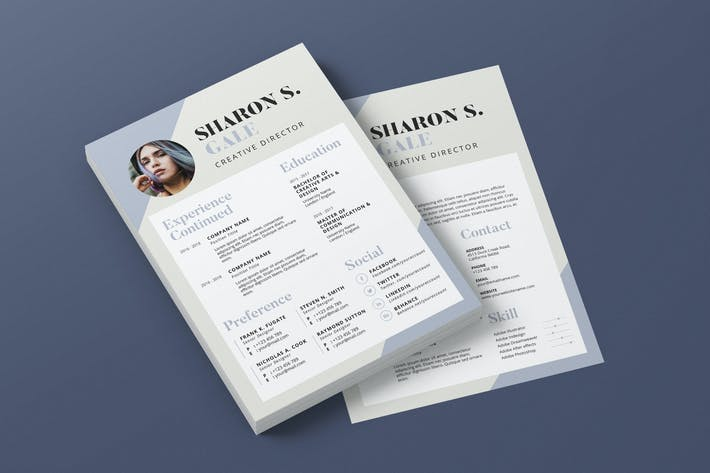 Thumbnail for Clean Minimalist CV Resume AI and PSD Flyer Vol.12
