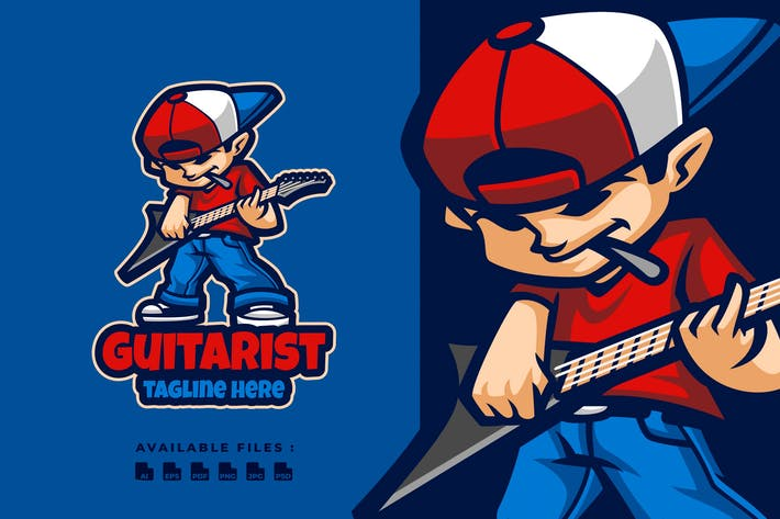 Thumbnail for Guitarist Cartoon Logo