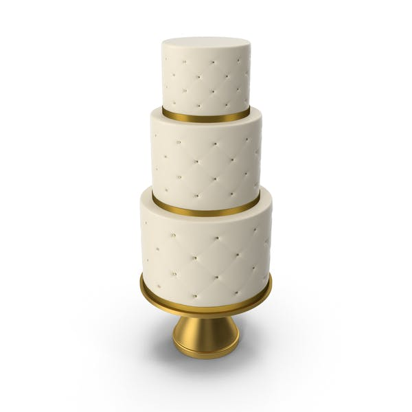 Cascade Cake with Decor of Gold Ribbon