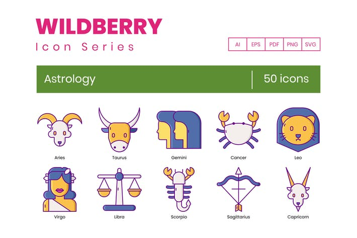 50 AstrologieIcons - Wildberry-Serie