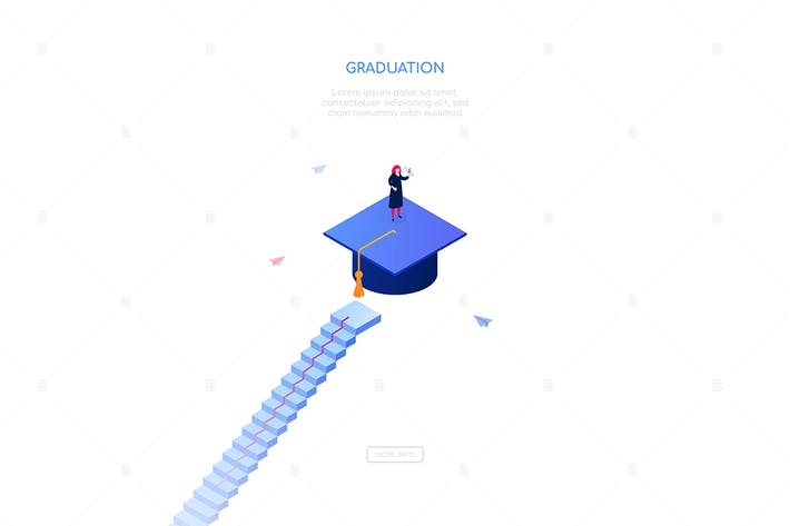 Thumbnail for Graduation - modern isometric vector web banner