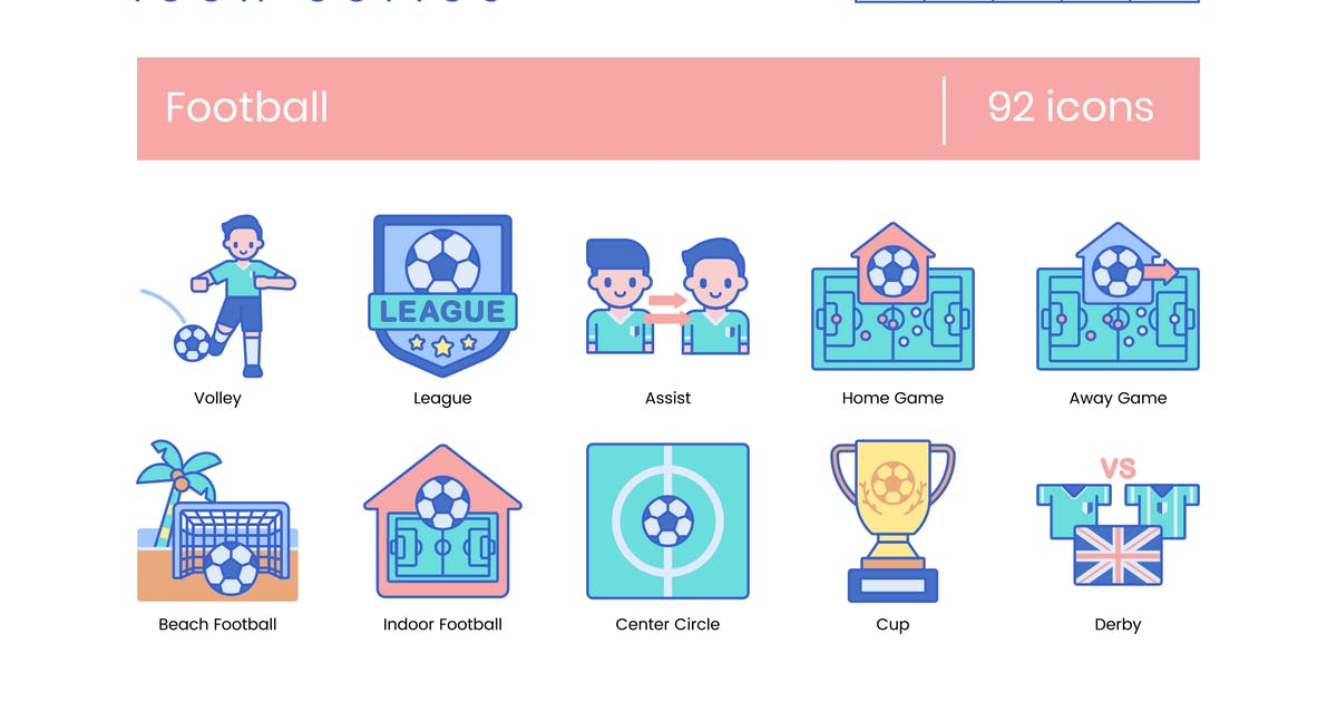 Download 92 Football (Soccer) Line Icons by Krafted