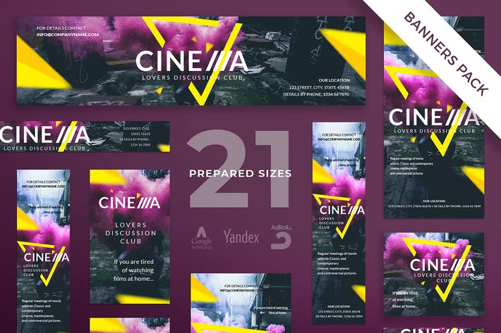 Thumbnail for Cinema Club Banner Pack Template