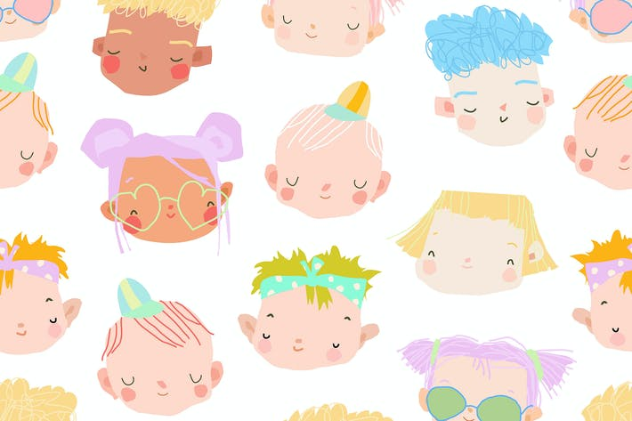 Vector seamless pattern of a cute kids faces