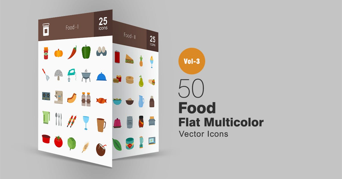 Download 50 Food Flat Multicolor Icons by IconBunny