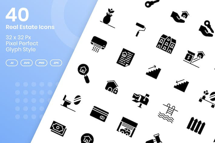 Thumbnail for 40 Real Estate Icons Set - Glyph