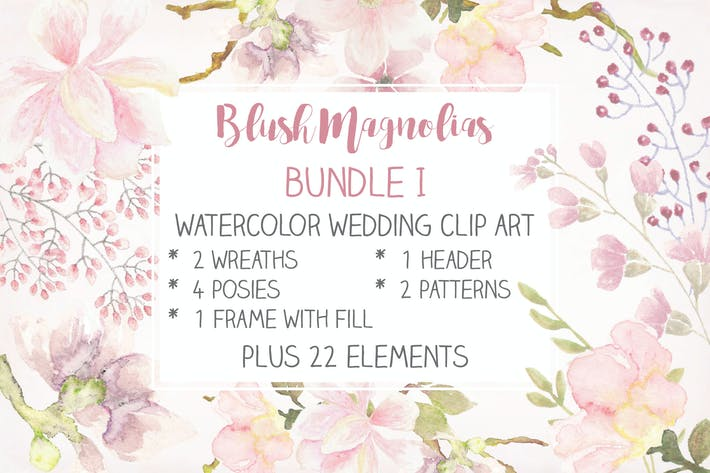 Thumbnail for Blush Magnolias: Wedding Clip Art Set I