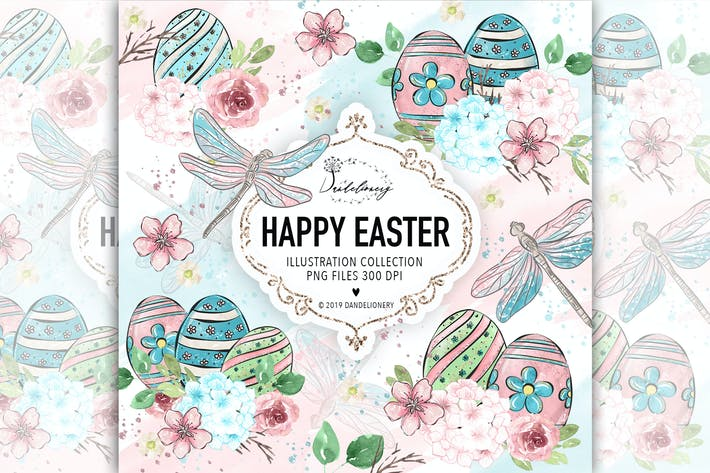 Thumbnail for Happy Easter dragonfly design
