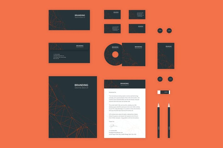 Thumbnail for Branding Identity Mock Up - Orange Tech for Figma