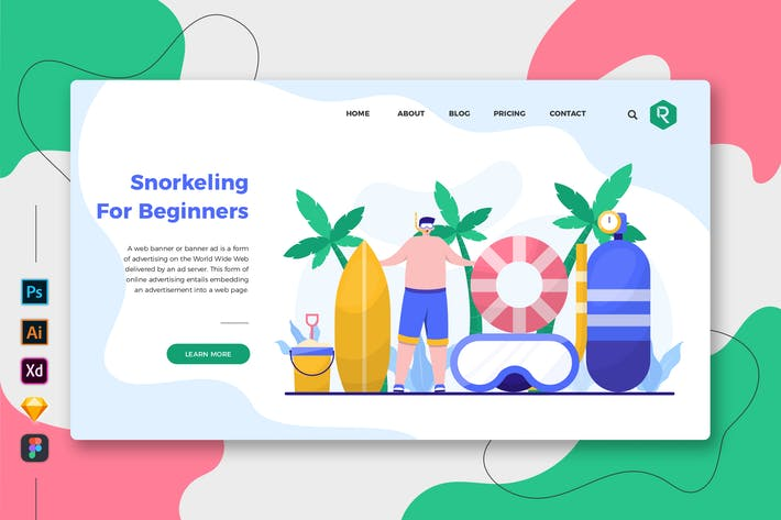 Thumbnail for Snorkeling For Beginner Web & Mobile Landing Page