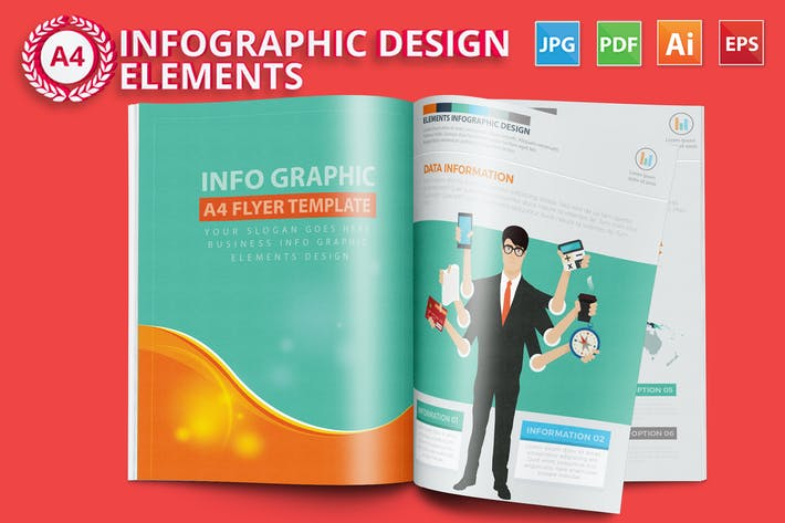 Thumbnail for Business Infographics A4 Template Design
