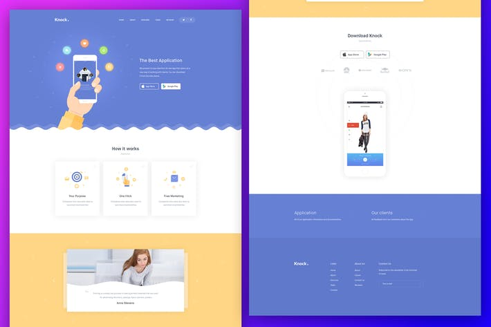 Thumbnail for Knock App Landing Page PSD Template