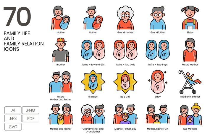 70 Family Life & Family Relation Line Icons