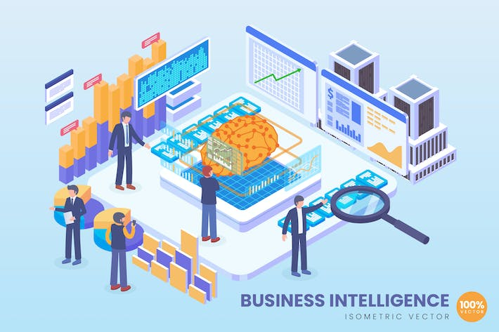 Thumbnail for Isometric Business Intelligence Vector Concept