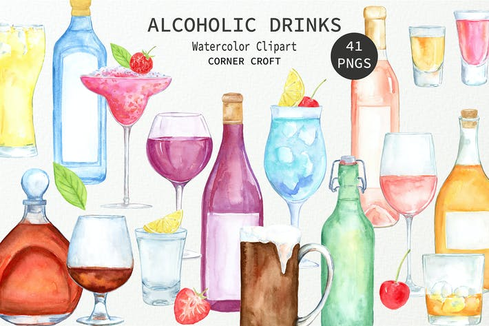 Thumbnail for Watercolor Alcoholic Drinks Illustration