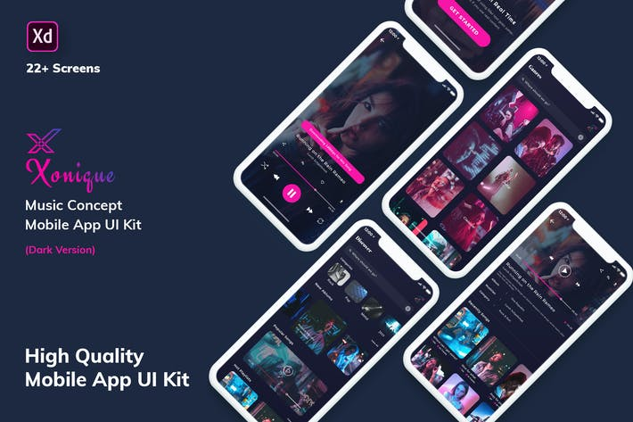 Cover Image For Xonique-Music MobileApp UI Kit Dark Version (XD)