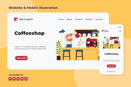 Barista working on coffeeshop web and mobile