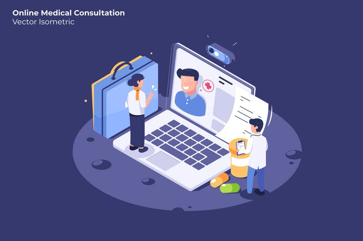 Online Medical Consultation - Vector Illustration