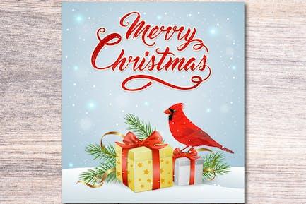 Regalo de Navidad y Pájaro Cardenal