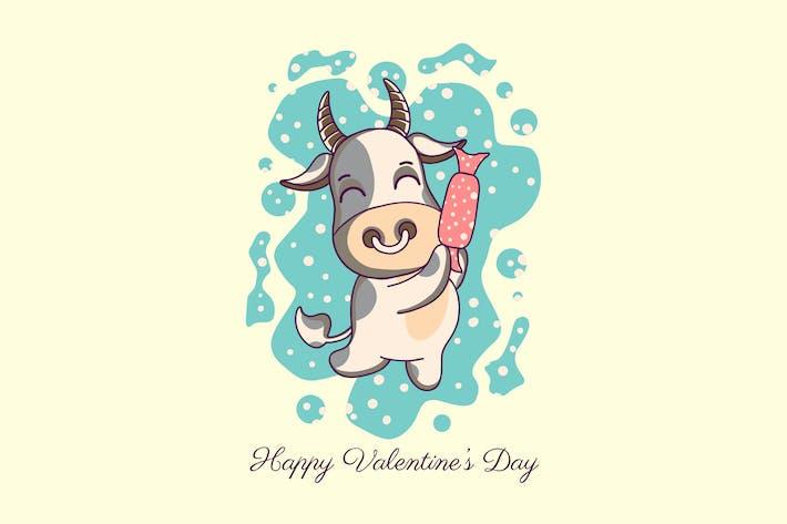 cow animal cartoon valentine day