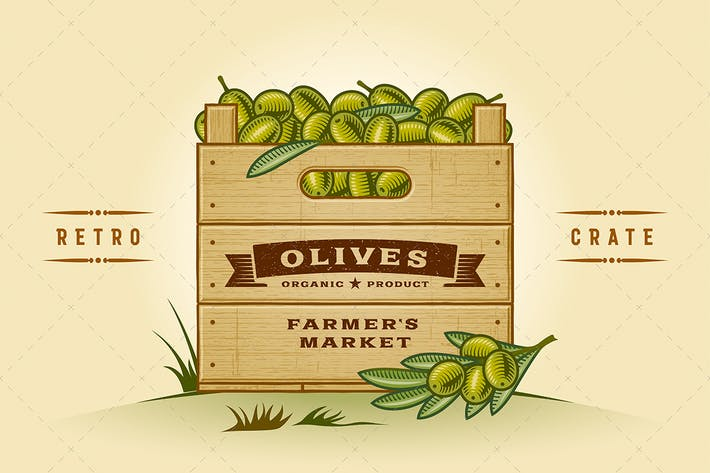Thumbnail for Retro Crate Of Olives