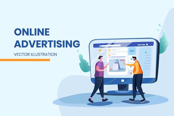 Online Einkaufen - Vektor Illustration