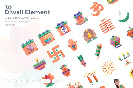 30 Diwali Elemento Íconos - Plano