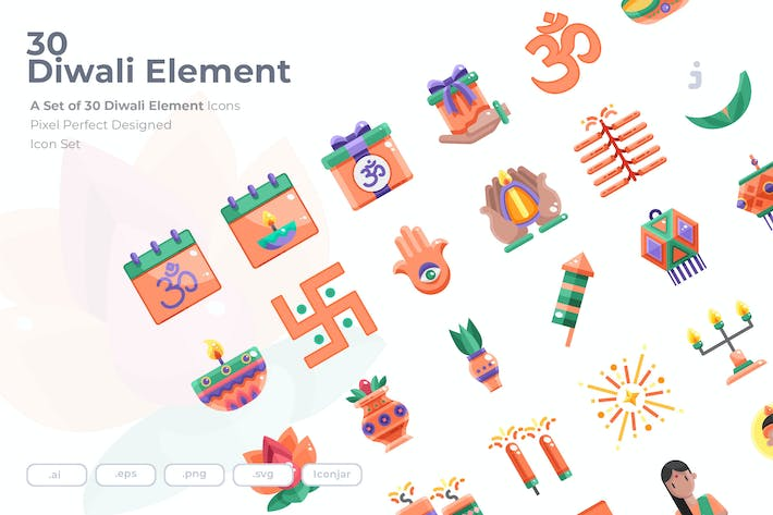 Thumbnail for 30 Diwali Element Icons - Flat