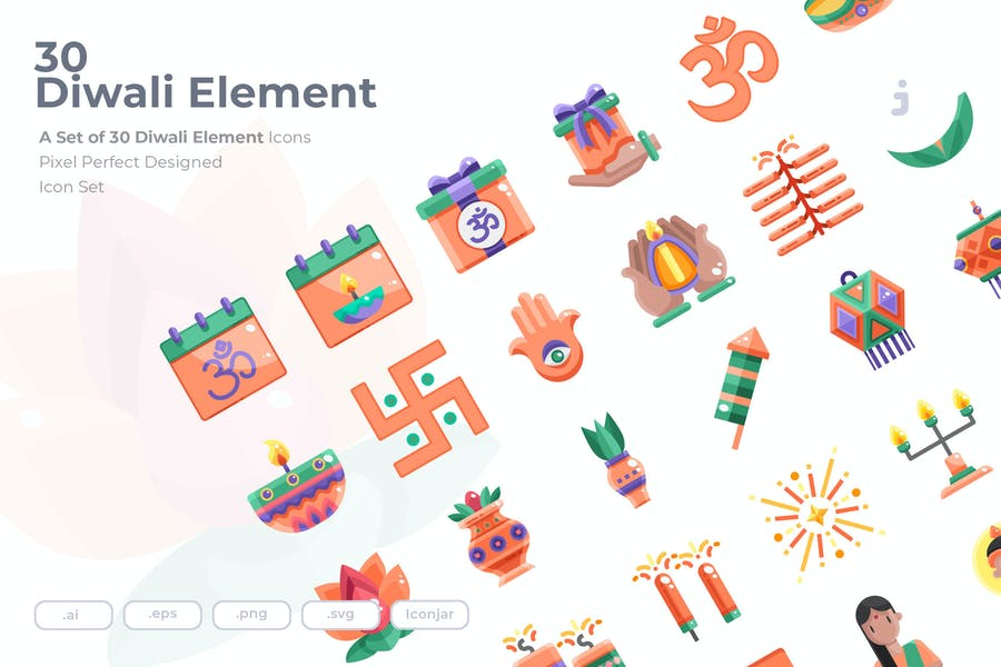 30 Diwali Element Icons - Flat