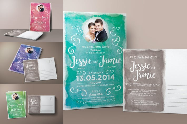 Thumbnail for Watercolor Wedding Invitation & RSVP
