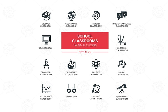 Thumbnail for School classrooms - simple icons, pictograms