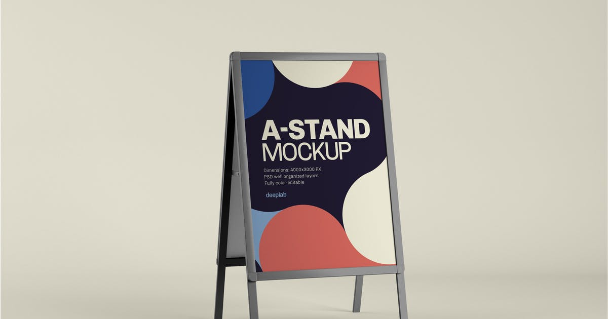 Download A-Stand Mockup | Advertising Board by deeplabstudio