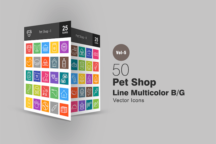 Thumbnail for 50 Pet Shop Line Multicolor Icons