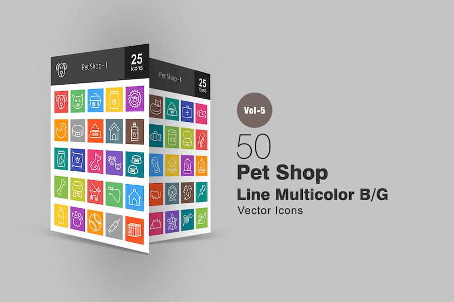 50 Pet Shop Line Multicolor Icons