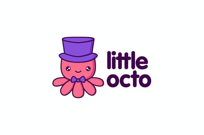Cover Image For Cartoon Cute Little Octopus Character Mascot Logo