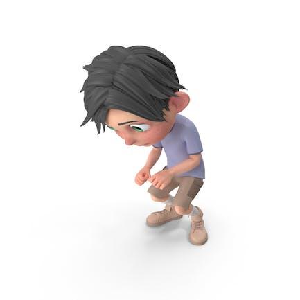 Cartoon Junge Jack hockend