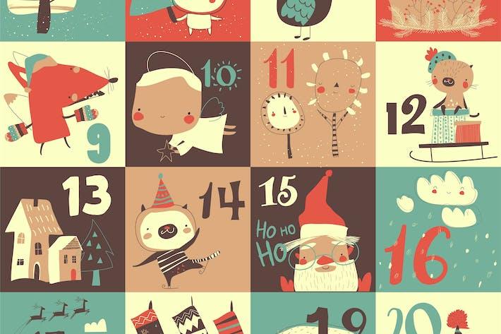 Thumbnail for Рождественский календарь с рождественским украшением и голец