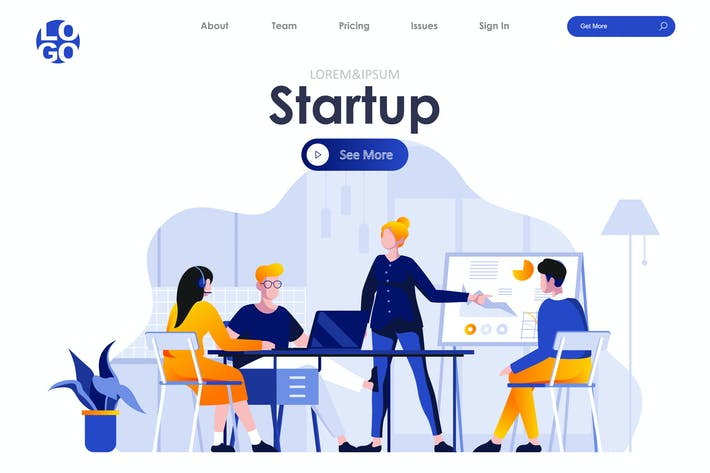 Thumbnail for Startup Project Landing Page Flat Concept