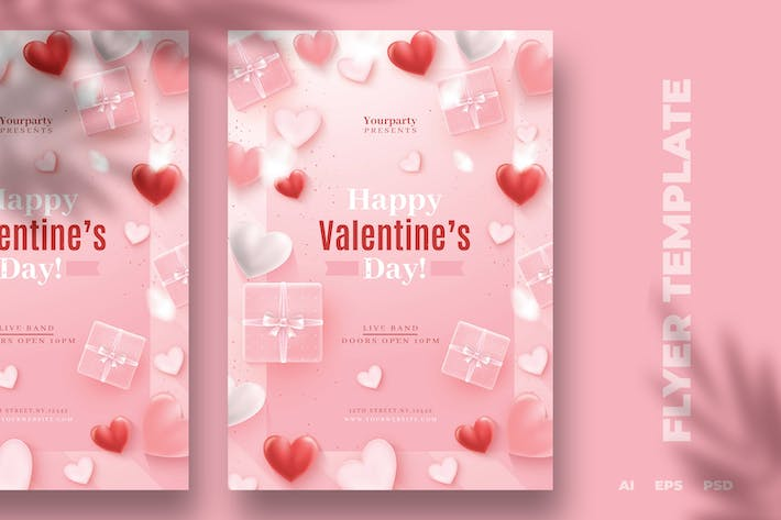 Thumbnail for Pink Valentine's Day Flyer Template