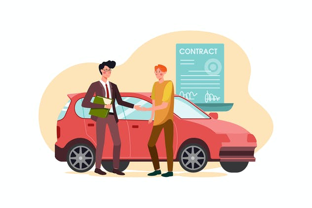 Car dealership seller greeting customer