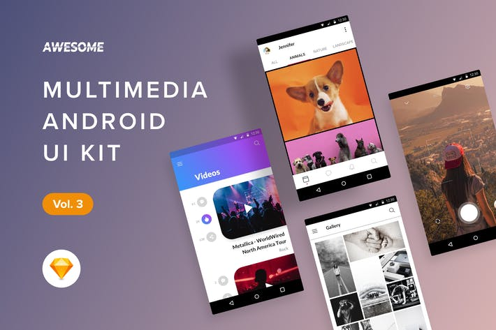 Thumbnail for Android UI Kit - Multimedia Vol. 3 (Sketch)