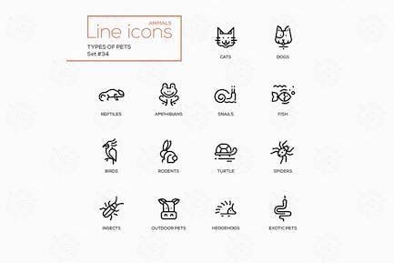 Arten von Haustieren - Vektor linie Design Stil Icons Set