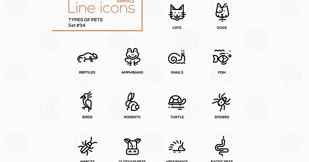 Download Types of pets - vector line design style icons set by BoykoPictures